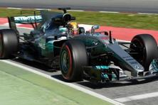 Mercedes' Lewis Hamilton at the Circuit de Barcelona-Catalunya during the pre-season testing on 9 March. Photo: AFP.