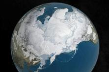 An undated Nasa illustration shows Arctic sea ice at a record low wintertime maximum extent for the second straight year, according to scientists at the National Snow and Ice Data Center and Nasa. Photo: Reuters/Nasa