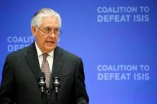 US secretary of state Rex Tillerson delivers remarks at the ministerial plenary for the global coalition working to defeat ISIS at the State Department in Washington on Wednesday. Photo: Reuters