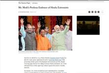 "The move by Narendra Modi's Bharatiya Janata Party (BJP) to name ""firebrand Hindu cleric"" Adityanath as Uttar Pradesh's chief minister over the last weekend was  a ""shocking rebuke"" to religious minorities, the editorial said."
