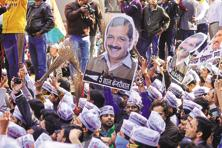 AAP is in power in Delhi where it won 67 of the 70 seats with a vote share of 54.34%. Photo: Pradeep Gaur/Mint