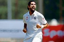 Ishant Sharma celebrates getting an Australian wicket. Photo: AP.