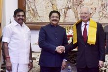 Malaysian PM Najib Razak being greeted by Tamil Nadu governor C.H. Vidyasagar Rao, at Raj Bhavan in Chennai on Thursday. Photo: PTI