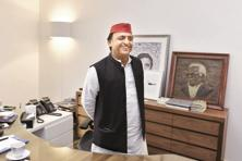 Samajwadi Party (SP) leader Akhilesh Yadav. The talks for the formation of a Grand Alliance come a month after BJP swept Uttar Pradesh elections. Photo: HT