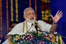 Addressing a public meeting in Silvassa, Modi said while it is the duty of the Centre to accord land rights to the tribal people, the previous Congress government always blamed the states for it. Photo: PTI