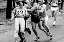 Race director Jock Semple trying to stop Kathrine Switzer from running the Boston Marathon in 1967. Photo: Getty Images.
