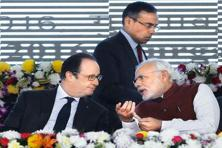 In January last year, Prime Minister Narendra Modi and French President Francois Hollande laid the foundation stone of ISA at Gurugram near New Delhi. Photo: Reuters
