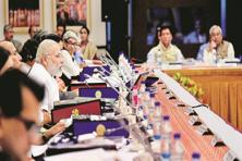 Prime Minister Narendra Modi with state chief ministers and senior government officials at the Niti Aayog meeting at the Rashtrapati Bhavan on Sunday. Photo: PTI