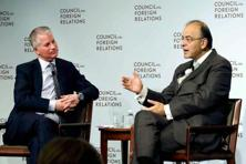 Arun Jaitley with Charles R. Kaye, co-CEO, Warburg Pinus during a conversation on Charles Peter McColough Series on International Economics at Council on Foreign Relations in New York City on Monday. Photo: PTI