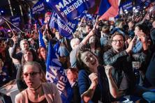 Marine Le Pen and Emmanuel Macron both took just under a quarter of the vote in a contest with 11 candidates in the first round of the French presidential polls. Photo: Marlene Awaad/Bloomberg