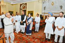 A file photo of opposition party leaders meeting President Pranab Mukherjee. TThe idea of putting up a common candidate was floated by Bihar CM Nitish Kumar in a meeting with Congress president Sonia Gandhi. Photo: PTI
