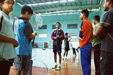 A file photo of Pullela Gopi Chand with his students at his badminton academy in Hyderabad. Photo: Hindustan Times.