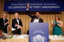Hasan Minhaj (2nd right) of Comedy Central at the White House Correspondents' Association dinner in Washington on 29 April, 2017. Photo: Jonathan Ernst/Reuters.