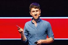 A screenshot of Tristan Harris at his TED talk.