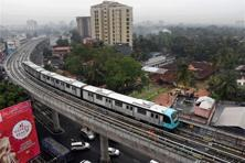 Kochi Metro will run 13 km in its 1st phase of operation, spanning 11 stations between Alwaye and Palarivattom in Kerala's economic hub, Ernakulam district. Photo: PTI