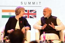 A file photo of Britain's Prime Minister Theresa May (L) with India's Prime Minister Narendra Modi during last year's The India-UK Tech Summit in New Delhi.  Photo: AFP