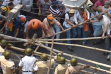 Police baton charge BJP supporters during their rally against the TMC government in Kolkata on Thursday. Photo: Indranil Bhoumik/Mint