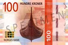 The first two notes of 100 and 200 Norwegian crowns ($12 and $24) will be launched on 30 May. Photo: Norges Bank
