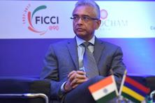 Mauritius Prime Minister Pravind Kumar Jugnauth at the India-Mauritius Business Forum in New Delhi. Jugnauth is on a three-day state visit to India. Photo: Prakash Singh/AFP