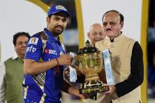 Mumbai Indians captain Rohit sharma receives the IPL 2017 trophy from C.K. Khanna, BCCI acting president during the prize distribution ceremony the final match in Hyderabad. Photo: Shailendra Bhojak/PTI