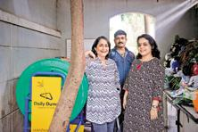 Poonam Bir Kasturi (left), founder of Daily Dump, one of the finalists for the SEOY Award this year, with Shraddha Prabhu Kumar, one of the oldest users of the social enterprise's products. Photo: Aniruddha Chowdhury/Mint