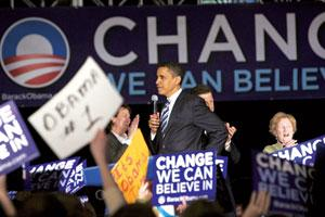 Firm beliefs: US presidential hopeful Barack Obama's strategy of focusing on one word, 'change', worked brilliantly.