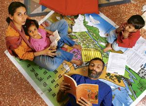 Motwani, an educational consultant, and his family at their south Mumbai home. (Abhijit Bhatlekar / Mint)
