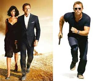On the run: (from left) Daniel Craig with Bond girl Olga Kurylenko; the actor says he has gone for a leaner and meaner look for the film. Photographs: Karen Ballard