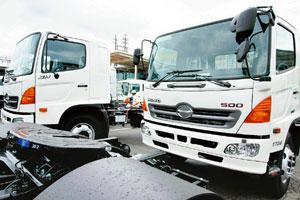 Uninterrupted: Hino Motors trucks in Japan. The company, which is the commercial vehicle-making arm of Toyota Motor, will be launching its tippers, tractors and luxury buses in May. Toshiyuki Aizawa