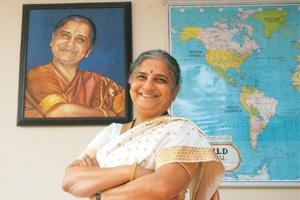 Repeating history: Sudha Murty, one of the three trustees of Infosys Foundation, sold the shares at a discount to Thursday's market price. Jagadeesh NV / Hindustan Times