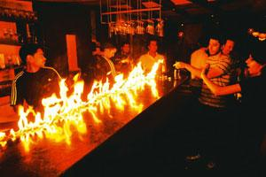 Lit up: A flaming bar at the launch of Eunuch Park by Palash Krishna Mehrotra. Harikrishna Katragadda/Mint