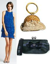 Bag it: (Clockwise from top right) Jewelled bangle bag on Desicouture.net, Rs2,965; a black Luella purse for Rs47,000 that is part of a promotional give-away on Brandmile.com; and a blue Adam dress o