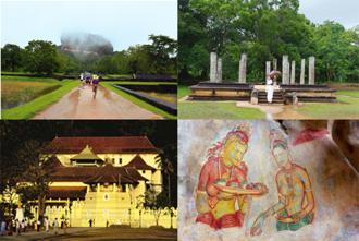 Buddha beckons: (clockwise from top left) A rainy day at the Sigiriya rock fortress; the ancient city of Anuradhapura; frescoes of the famed 'Sigiriya maidens'; and the Kandy tooth temple. Photographs