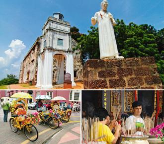 Melting pot: (clockwise from top) The ruins of St Paul's church in Malacca (Adrin Shamsudin/Thinkstock); worshippers offer incense sticks for prayers (Divya Babu/Mint); and the town's famous, brightly