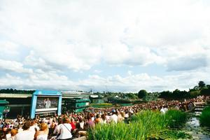 Picnic time: Aorangi Terrace, better known as Henman Hill, overlooks a giant TV screen and is a great way to enjoy tennis at Wimbledon.Getty Images