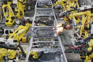 A file photo of employees at the shop floor, car assembly line, at the Hyundai motors Plant in Chennai