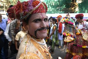 Rajasthani folk artistes perform at the festival. (Abhijit Bhatlekar/Mint)