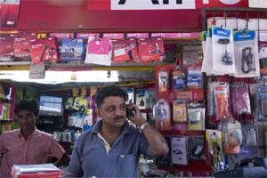 A file photo of a shop selling mobile phones and smartphone apps