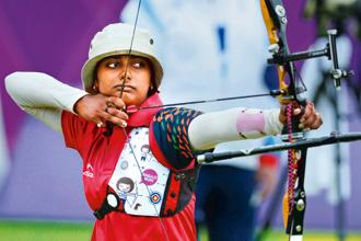 Deepika Kumari, the world No. 1, lost to Amy Oliver of Great Britain, ranked 37. Photo: Manvender Vashist/PTI