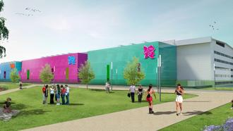 An artist's impression of the International Broadcast Centre. Together with the Main Press Centre, it will be used by around 20,000 broadcasters, photographers and journalists during the London Games. Photo: London 2012