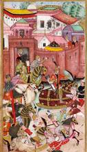 Kings and almost-kings: Baburnama manuscript showing the Mughal emperor Babur and his army emerging from the Khwaja Didar fort. Photographs by Wikimedia Commons