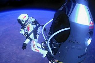 Baumgartner jumps out of the capsule during the final manned flight for the jump. The Austrian daredevil broke the sound barrier on Sunday, jumping from an altitude of 128,097 ft. AFP