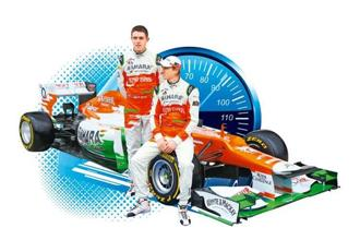 Sahara Force India drivers Paul di Resta of Great Britain (left) and Nico Hulkenberg of Germany at the unveiling of the new car for the 2012 season. Photo: Mark Thompson/Getty Images