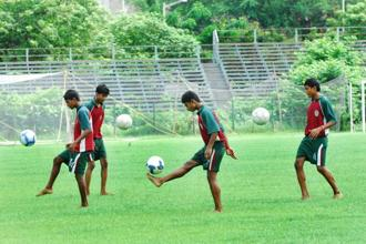 A file photo of junior team players in Mohun Bagan. Photo: Indranil Bhoumik/Mint