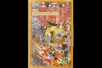 An artistic representation of Mughal emperor Akbar with his cavalry. Jahangir writes in his memoir that Akbar charged with the words 'Ya Muin'.
