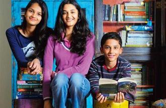 Author Anuja Chauhan's children (from left) Nayantara, 14, Niharika, 17, and Daivik, 11, prefer to read books by Western authors. Photo: Priyanka Parashar/Mint