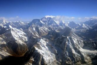 This file aerial photograph of the Mount Everest (centre) peak. Photo: AFP