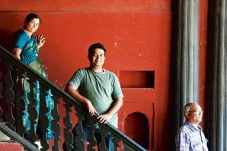 Arjun Bhat (centre) at Tipu Sultan's palace in KR Market, Bangalore. Photo: Aniruddha Chowdhury/Mint