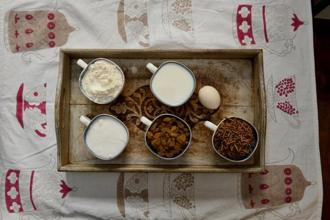 To make an All-Bran Loaf you will need milk, egg, raisins, sugar, milk, flour, All-Bran cereal. Photographs: Priyanka Parashar/Mint