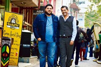 Riyaaz Amlani (left) and A.D. Singh at Hauz Khas Village, Delhi. Photo: Priyanka Parashar/Mint